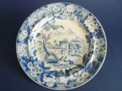 Don Pottery 'Named Italian Views - Naval Amphitheatre at Taorminum' Pearlware Dinner Plate c1820 #1